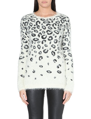 WAREHOUSE Fluffy knitted animal jumper