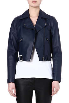 WAREHOUSE Raw edge collar biker jacket