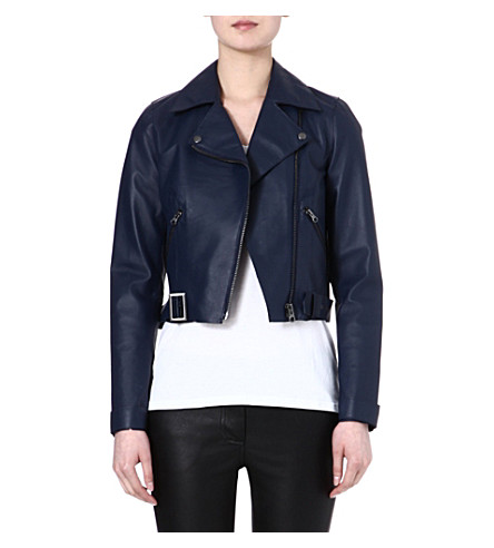 WAREHOUSE Raw edge collar biker jacket (Navy