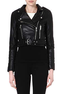 WAREHOUSE Cropped leather biker jacket