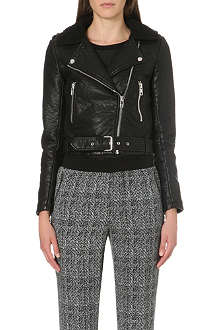 WAREHOUSE Bubble Borg collar faux-leather jacket