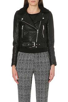 WAREHOUSE Bubble Borg collar faux-leather jacket