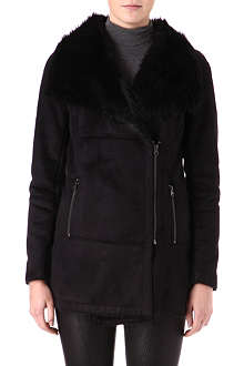 WAREHOUSE Longline faux-fur coat