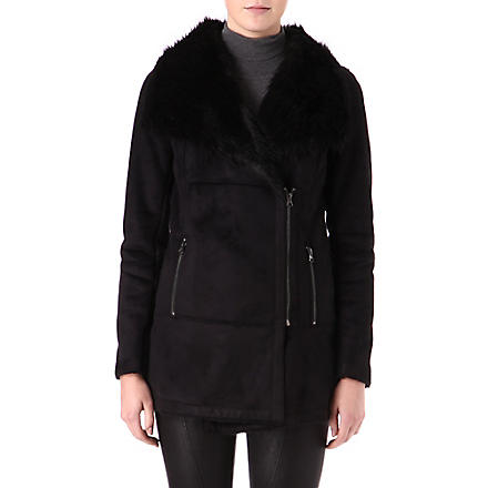 WAREHOUSE Longline faux-fur coat (Black