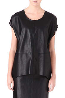 WAREHOUSE Leather and chiffon oversized top