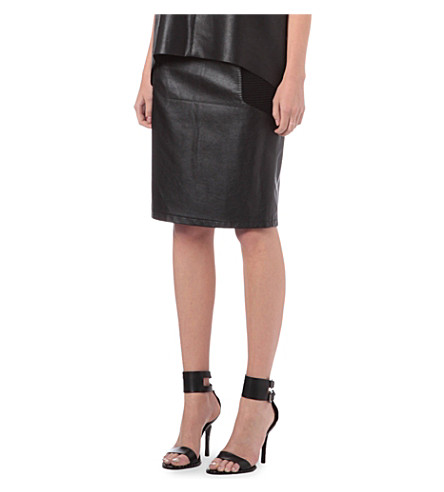 WAREHOUSE Faux-leather skirt (Black