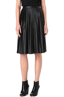 WAREHOUSE Faux-leather pleated skirt