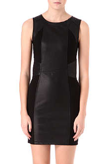 WAREHOUSE Embroidered leather panel dress