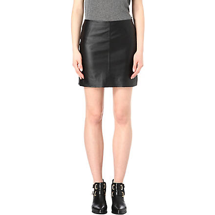 WAREHOUSE Pelmet leather skirt (Black