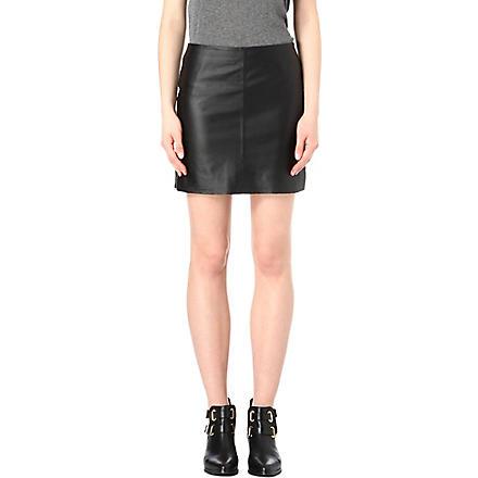 WAREHOUSE Pelmet leather skirt (Black