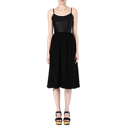 WAREHOUSE Faux leather and crepe dress (Black