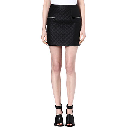 WAREHOUSE Quilted faux leather skirt (Black