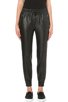 WAREHOUSE Faux leather jogging bottoms