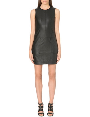 WAREHOUSE Faux leather sleeveless shift dress