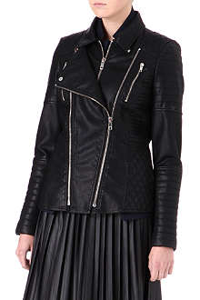 WAREHOUSE Triple-zip faux-leather biker jacket