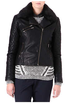 WAREHOUSE Quilted faux-leather biker jacket