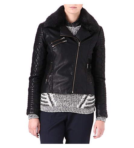 WAREHOUSE Quilted faux-leather biker jacket (Black