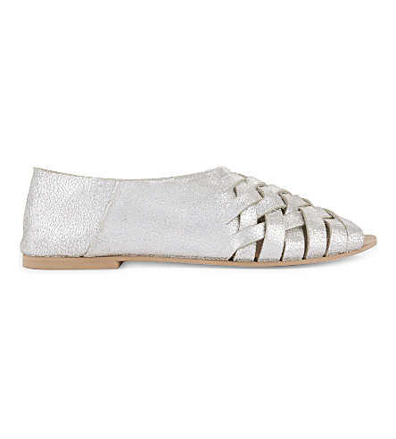 TOPSHOP Florida metallic leather sandals (Silver