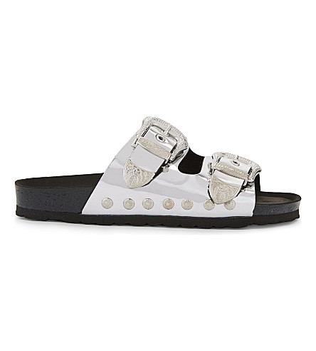 TOPSHOP Falcon mirrored buckle sandals (Silver