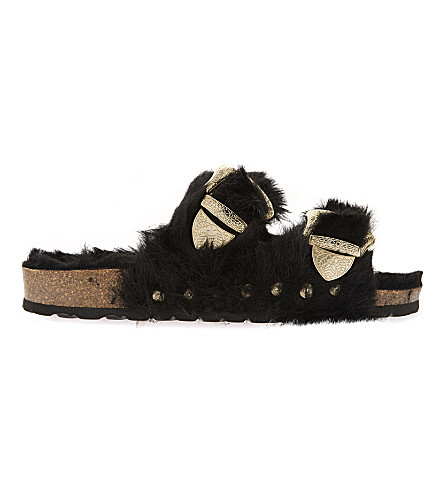TOPSHOP Falcon furry sandals (Black