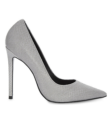 TOPSHOP Gamble snake-embossed leather courts (Grey