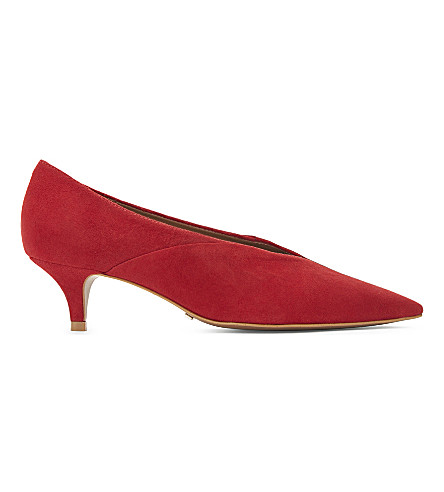 TOPSHOP Jackie suede kitten courts (Red