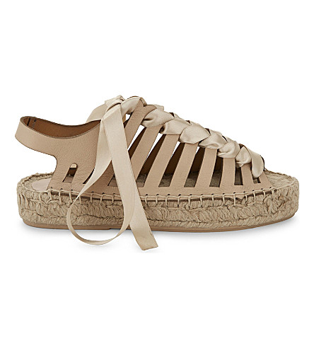 TOPSHOP Krown leather and lace espadrille sandals (Nude