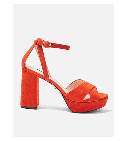 TOPSHOP Leah suede platform sandals (Orange