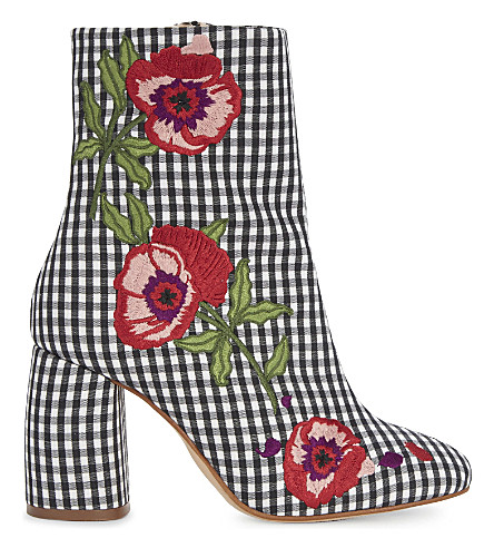 TOPSHOP Madame gingham floral ankle boots
