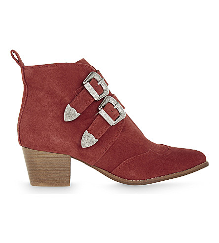 TOPSHOP Montana leather ankle boots (Red