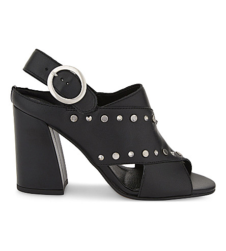 TOPSHOP Nixie studded leather heeled sandals (Black