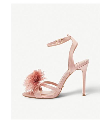 TOPSHOP Renee pompom satin sandals (Nude
