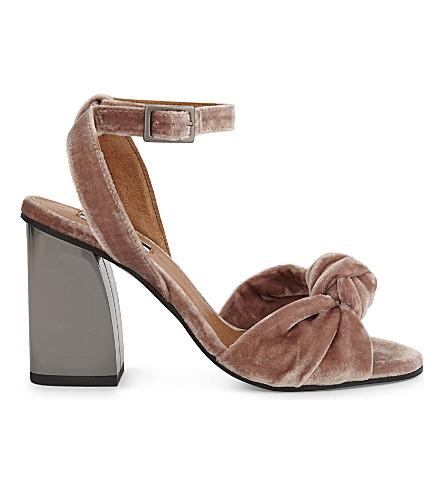 TOPSHOP Rocksy spot velvet heeled sandals (Nude