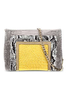 JIMMY CHOO Ava reptile-embossed small clutch bag