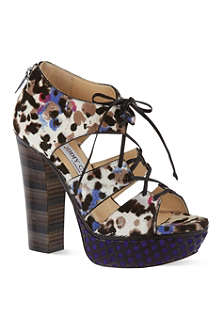 JIMMY CHOO Animal print platform sandals
