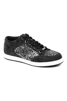 JIMMY CHOO Miami glitter-embellished trainers