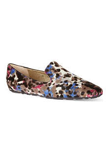 JIMMY CHOO Wheel animal-print slippers