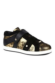 JIMMY CHOO Yuko metallic leather trainers