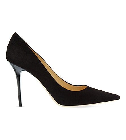 JIMMY CHOO Abel 100 suede heeled courts (Black