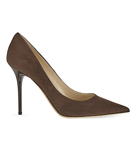 JIMMY CHOO Abel 100 suede heeled courts (Pecan