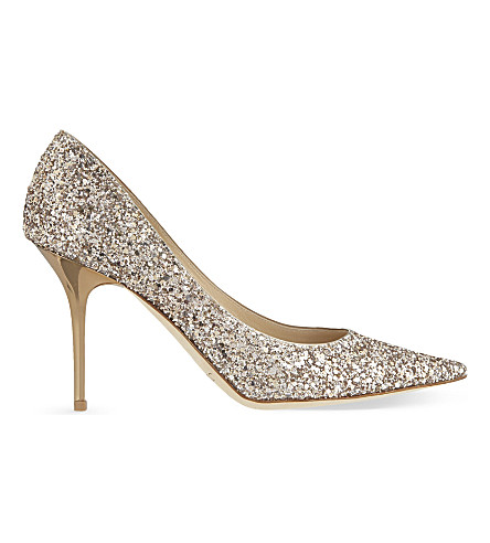 JIMMY CHOO Agnes 85 glitter courts (Nude