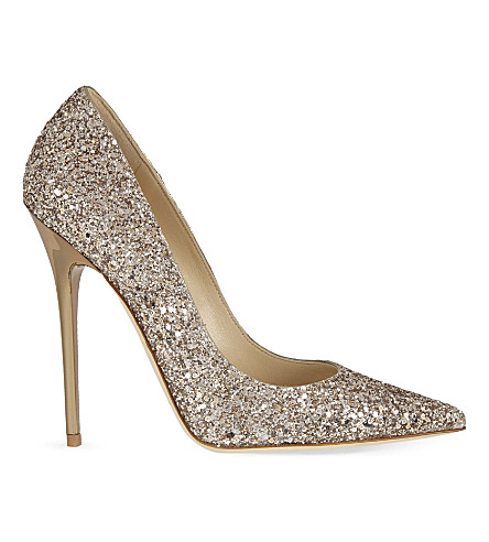 JIMMY CHOO Anouk 120 glitter heeled courts (Nude
