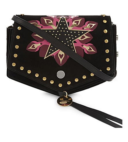 JIMMY CHOO Arrow Galaxy Star stud-embellished suede cross-body bag (Black/pink+mix