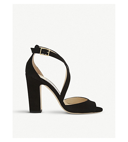 JIMMY CHOO Carrie 100 suede heeled sandals (Black