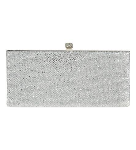 JIMMY CHOO Celeste glitter cube clutch (Silver