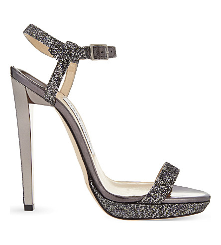 JIMMY CHOO Claudette 120 glitter heeled sandals (Anthracite