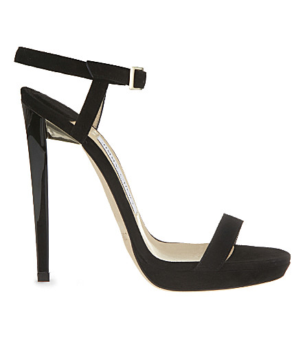 JIMMY CHOO Claudette 120 suede heeled sandals (Black