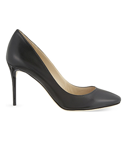 JIMMY CHOO Esme 85 leather heeled pumps (Black