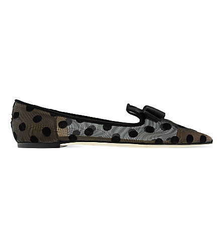 JIMMY CHOO Gala polka-dot pointed-toe flats (Black/black