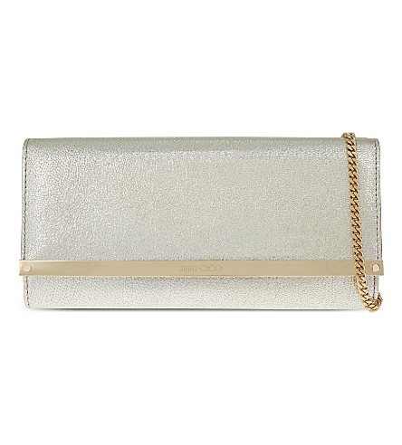 JIMMY CHOO Milla leather glitter clutch (Glitter+champagne